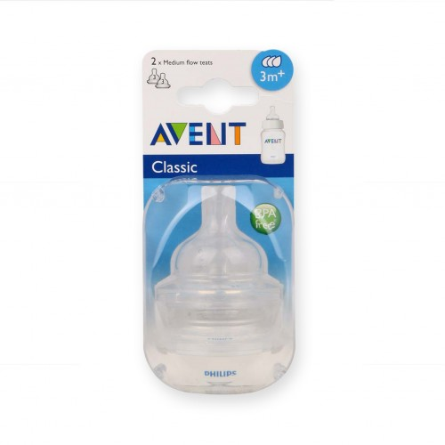 PHILIPS Avent Classic+ Medium Flow Nipple - Pack of 2 : 3M+