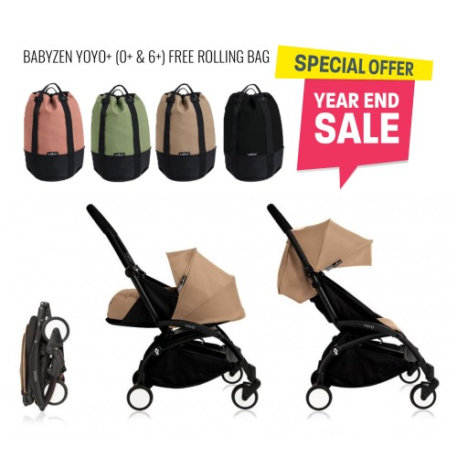 BABYZEN YOYO Plus 0+ 6+ (Black Frame + Taupe) FREE TROLLY BAG