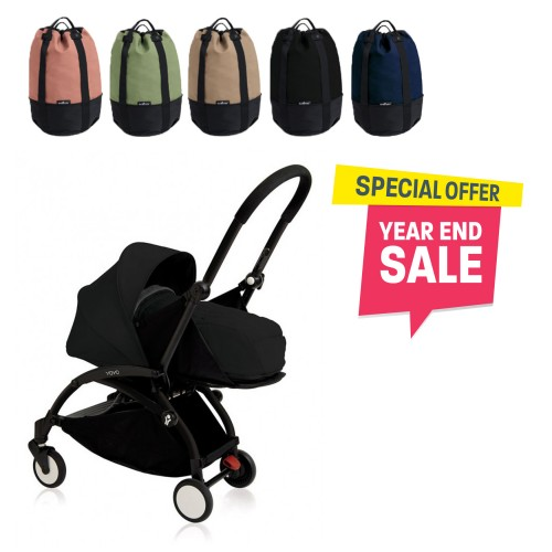 BABYZEN YOYO Plus 0+ (Black Frame + Black) FREE TROLLY BAG