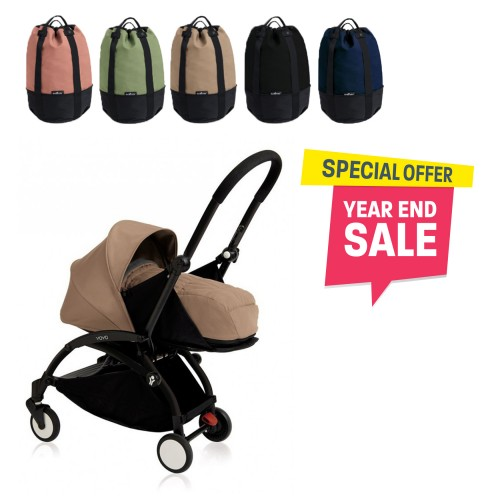BABYZEN YOYO Plus 0+ (Black Frame + Taupe) FREE TROLLY BAG