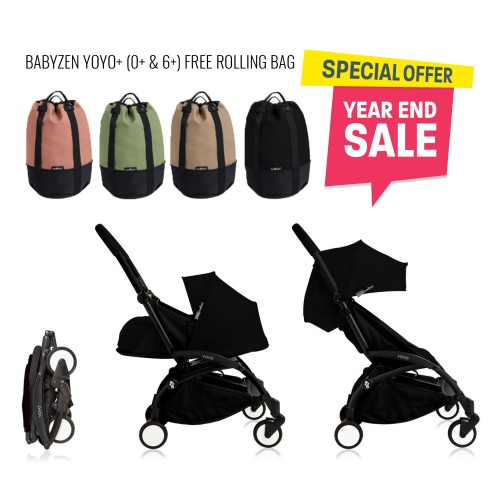 BABYZEN YOYO Plus 0+ 6+ (Black Frame + Black) FREE TROLLY BAG
