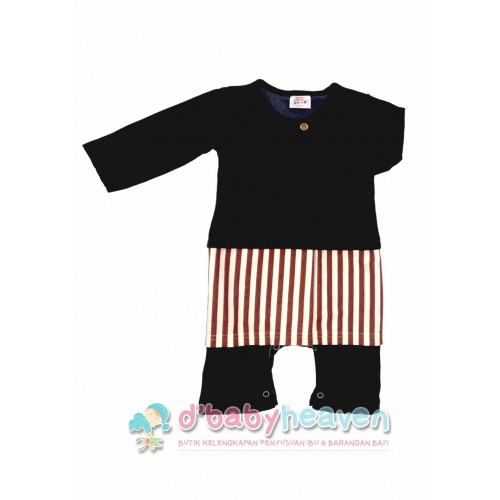 Baju Melayu Adrian Romper (BLACK WITH BROWN STRIPES)