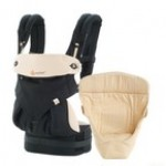 Ergobaby Four Position 360 Collection: Bundle of Joy Black & Camel with Camel Easy Snug Infant Insert