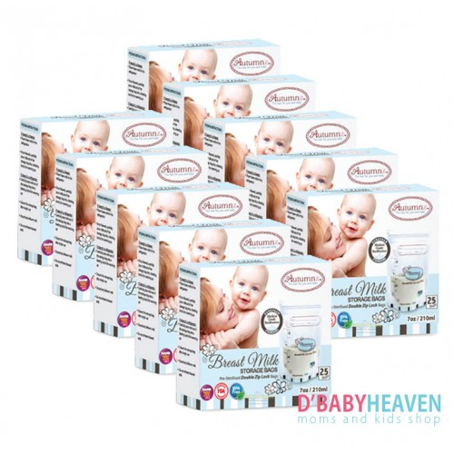 AUTUMNZ Double Zip Lock Breastmilk Storage 7oz x 25pcs (10 BOXES)
