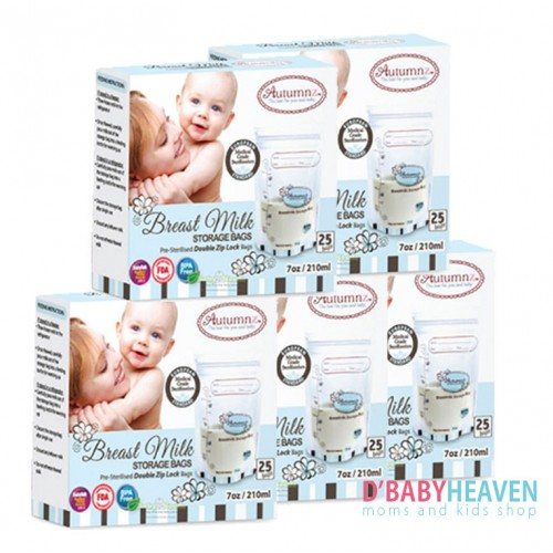 AUTUMNZ Doble Zip Lock Breastmilk Storage 7oz X 25pcs (5 BOXES)