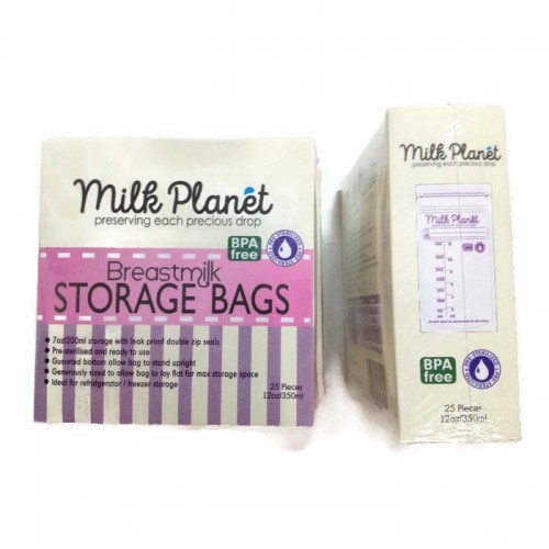 MILK PLANET Double Zip Lock Storage Breastmilk 12oz x 25pcs