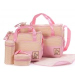 5 in 1 Mummy Bag - Pink Polkadot