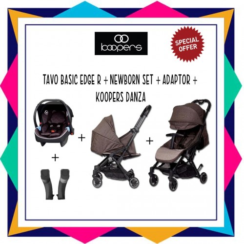 KOOPERS TAVO BASIC EDGE R + KOOPERS DANZA ( FREE ADAPTOR) + NEWBORN KIT  - KHAKIS BROWN